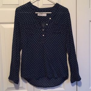 Carve Design blue blouse with teal dots